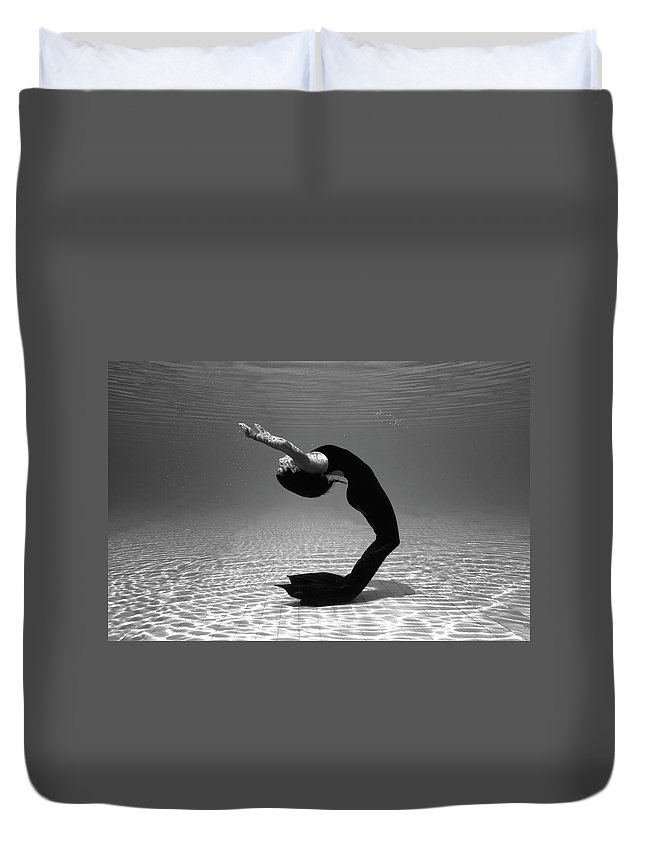 Underwater Duvet Cover featuring the photograph Black Mermaid by Microgen