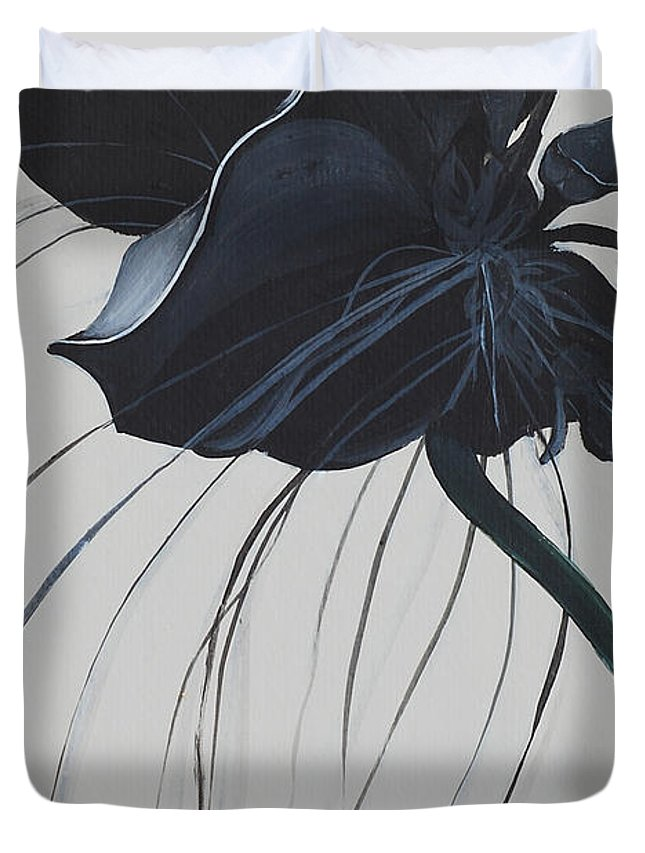Black Orchid Duvet Cover featuring the painting Black Orchid by Catt Kyriacou