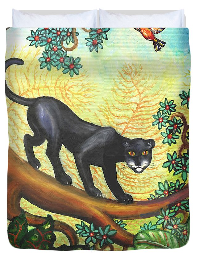 Folk Art Jungle Duvet Cover featuring the painting Black Panther by Linda Mears