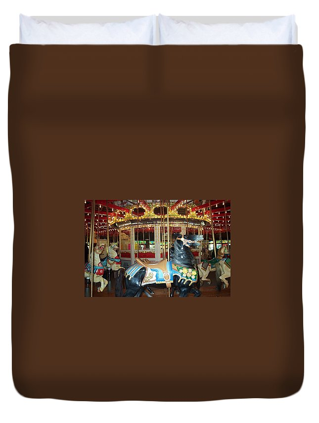 Carousel Duvet Cover featuring the photograph Black Pony by Barbara McDevitt