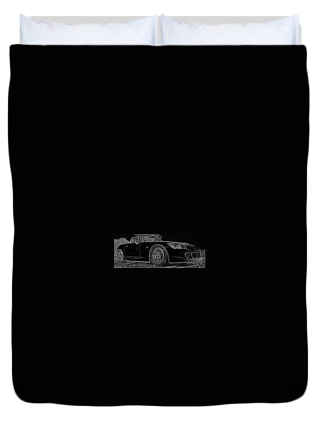 S2000 Duvet Cover featuring the mixed media Black S2000 by Eric Liller