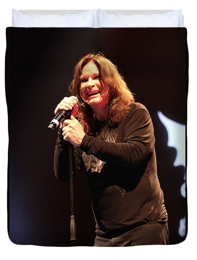 Singer Duvet Cover featuring the photograph Black Sabbath - Ozzy Osbourne by Concert Photos