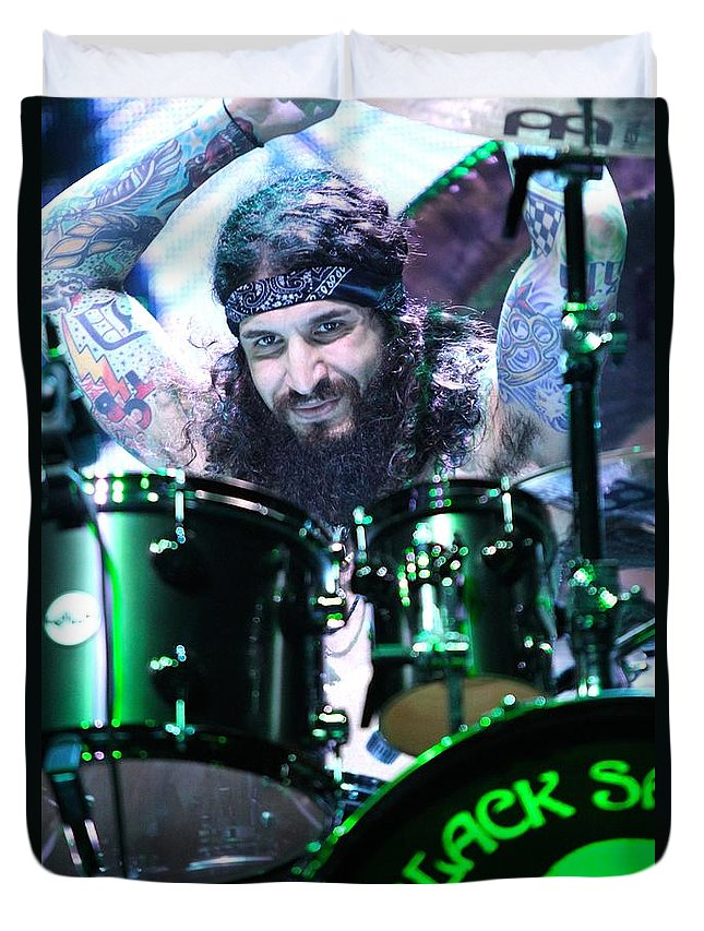 Drummer Duvet Cover featuring the photograph Black Sabbath - Tommy Clufetos by Concert Photos