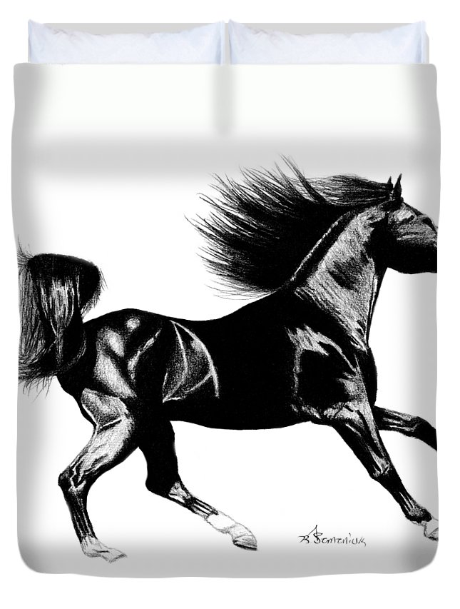 Black Duvet Cover featuring the drawing Black Speed by Kayleigh Semeniuk