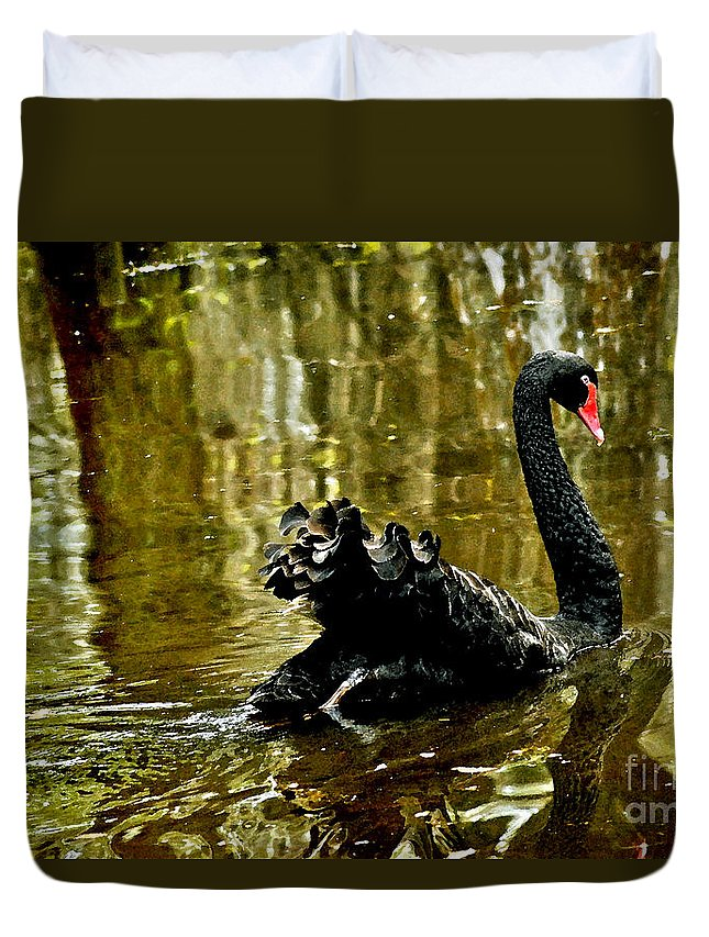 Swan Lake Duvet Cover featuring the digital art Black Swan Lake by Jeff McJunkin