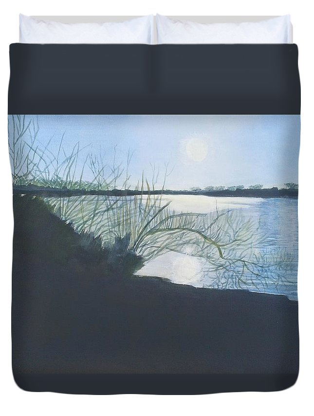 Black Swan Lake Duvet Cover featuring the painting Black Swan Lake by Joanne Perkins