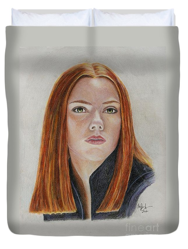 Black Widow Duvet Cover featuring the drawing Black Widow by Christine Jepsen