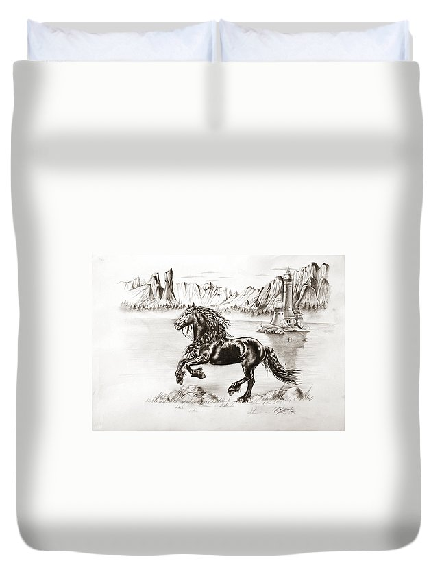 Beautiful Duvet Cover featuring the drawing Black Wind by Art Imago