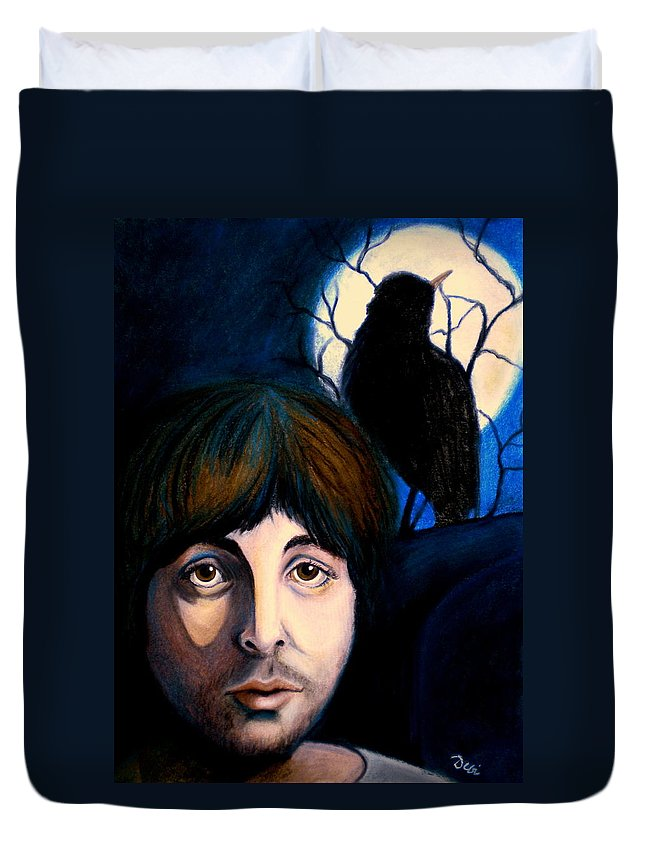 Paul Mccartney Duvet Cover featuring the painting Blackbird by Debi Starr