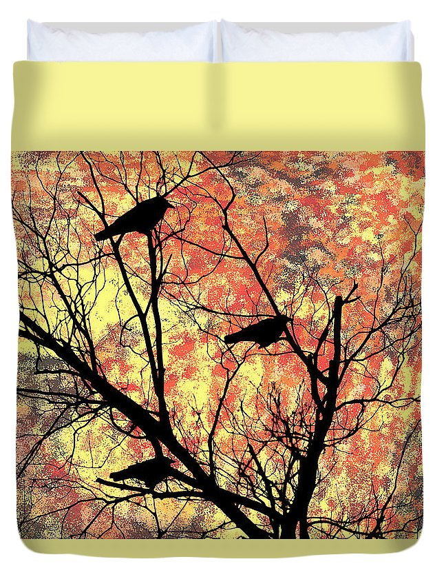 Blackbirds In A Tree Duvet Cover featuring the photograph Blackbirds In A Tree by Bill Cannon