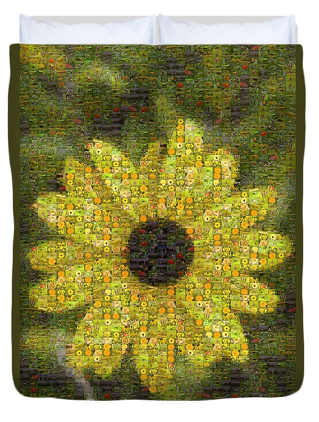 Flower Duvet Cover featuring the photograph Blackeyed Suzy Mosaic by Darleen Stry
