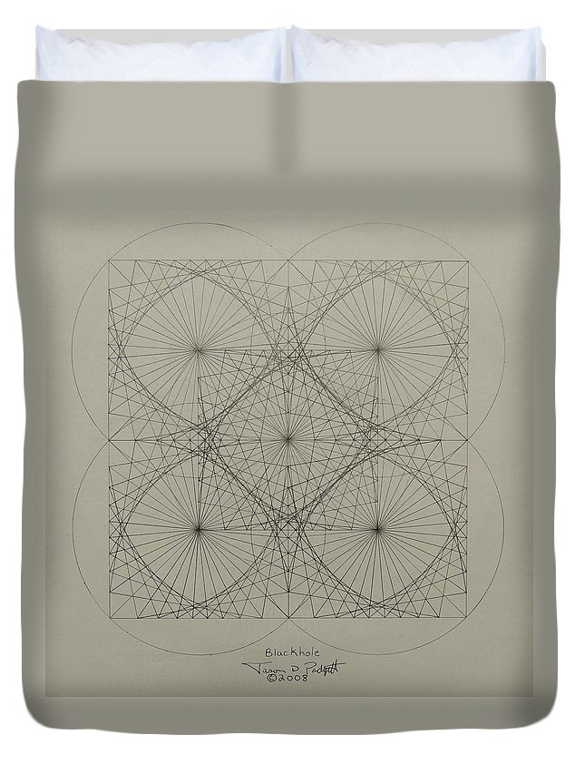 Fractals Duvet Cover featuring the drawing Blackhole by Jason Padgett