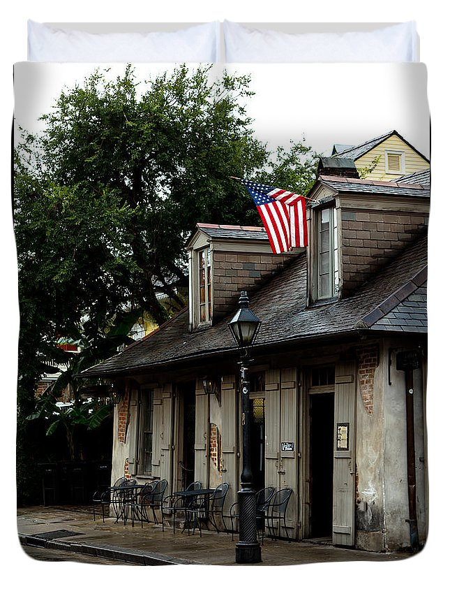 New Orleans Duvet Cover featuring the photograph Blacksmith Shop On A Rainy Day by Susie Hoffpauir