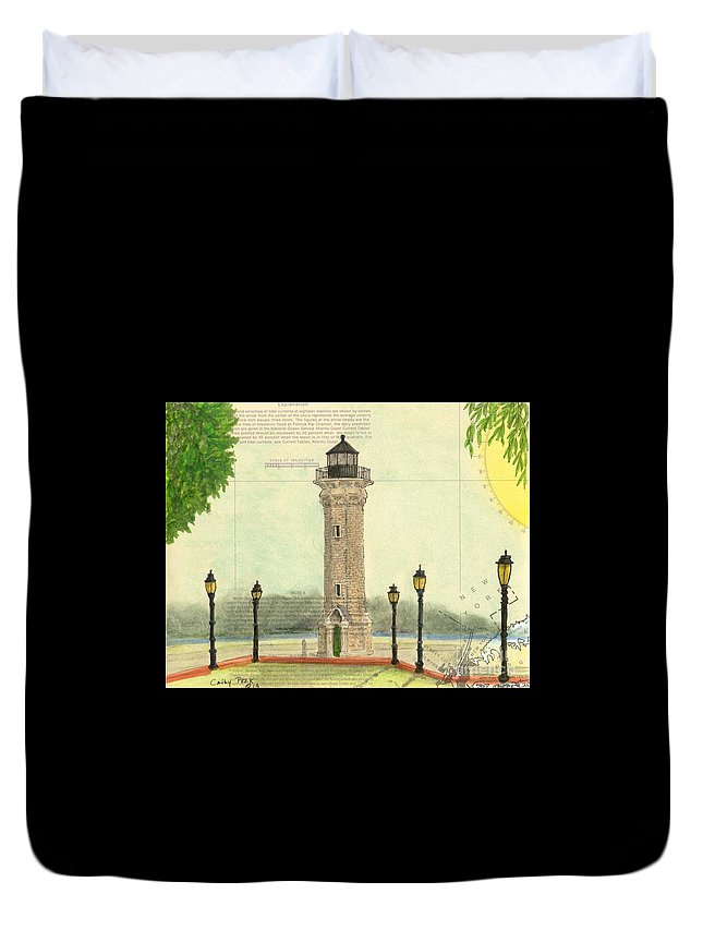 Blackwell Duvet Cover featuring the painting Blackwell Island Lighthouse Ny Chart Map Art by Cathy Peek