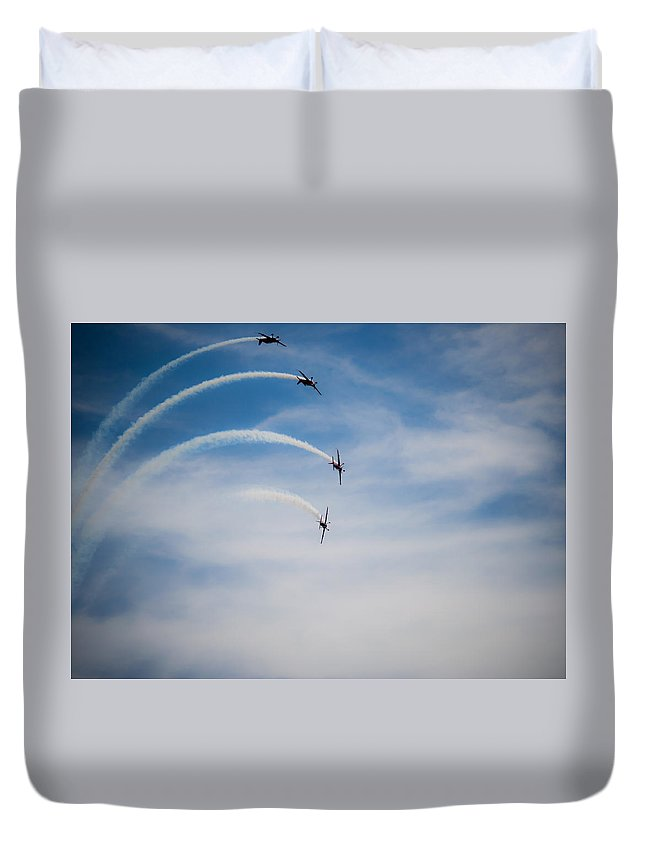 Display Duvet Cover featuring the photograph Blades Formation Loop by Scott Lyons