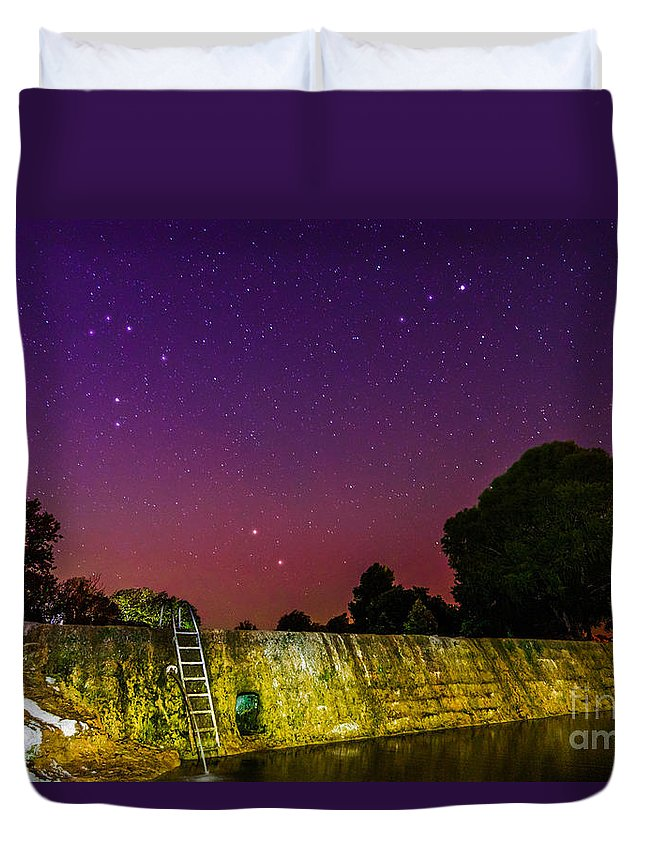 Texas Hill Country Duvet Cover featuring the photograph Blanco River Dam At Night - Texas Hill Country Blanco Texas by Silvio Ligutti