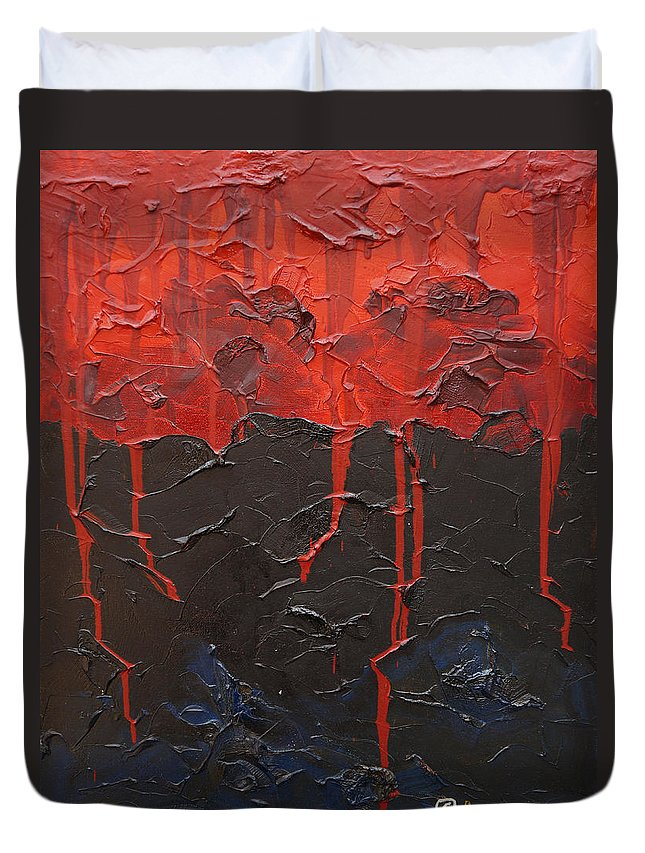Fantasy Duvet Cover featuring the painting Bleeding Sky by Sergey Bezhinets