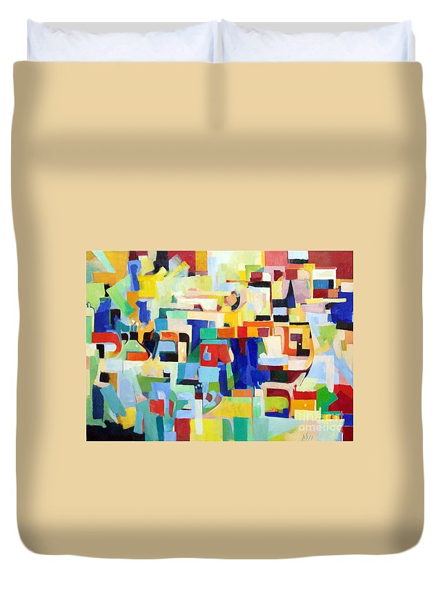 Torah Duvet Cover featuring the painting Blessed Is He Who Redeems And Rescues 4 by David Baruch Wolk
