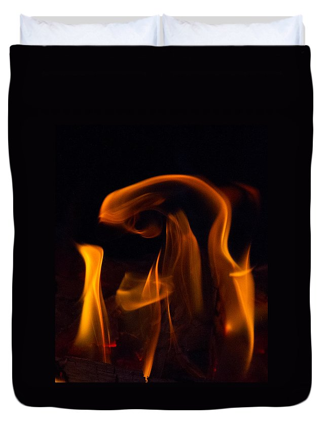 Blessed Mother Child Painting Fire Light Duvet Cover featuring the photograph Blessed Mother And Child by Bernie Mc