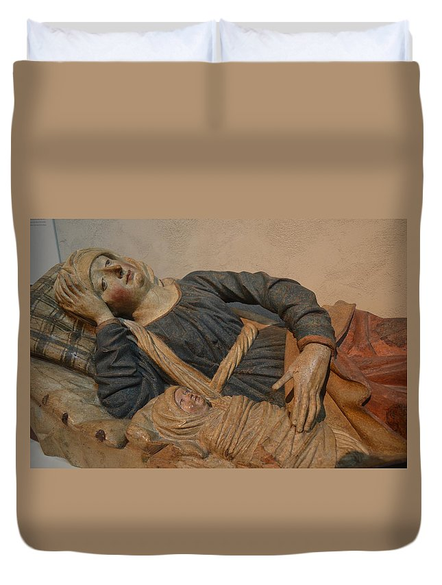 Mary Duvet Cover featuring the sculpture Blessed Virgin Mary by Philip Ralley