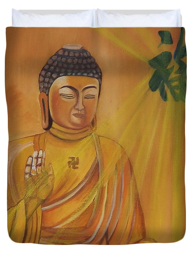 Buddha Duvet Cover featuring the painting Blessing by To-Tam Gerwe