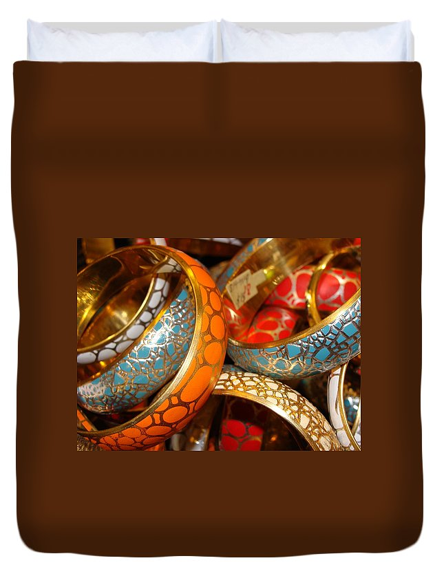 Jewelry Duvet Cover featuring the photograph Bling by Ira Shander