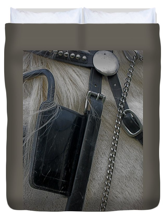 Blinkers Duvet Cover featuring the photograph Blinkers by Kathy Barney