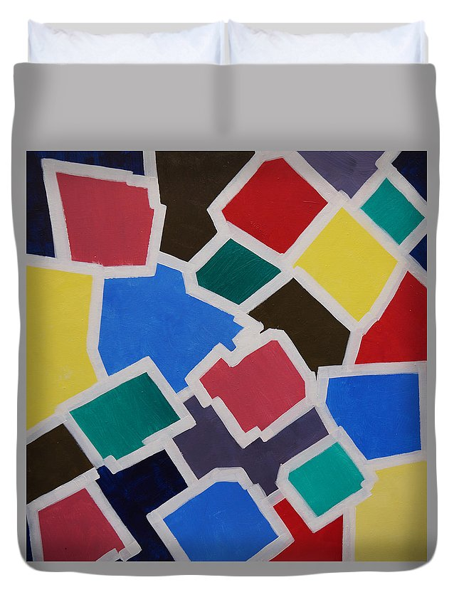 Acrylic Duvet Cover featuring the painting Outside the Box by Sergey Bezhinets