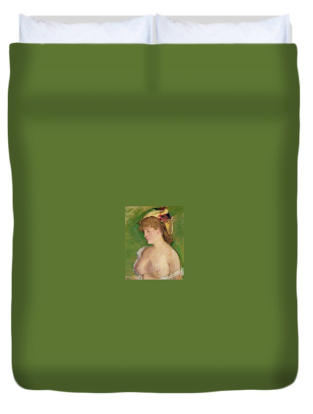 1879 Duvet Cover featuring the painting Blonde With Bare Breasts by Edouard Manet