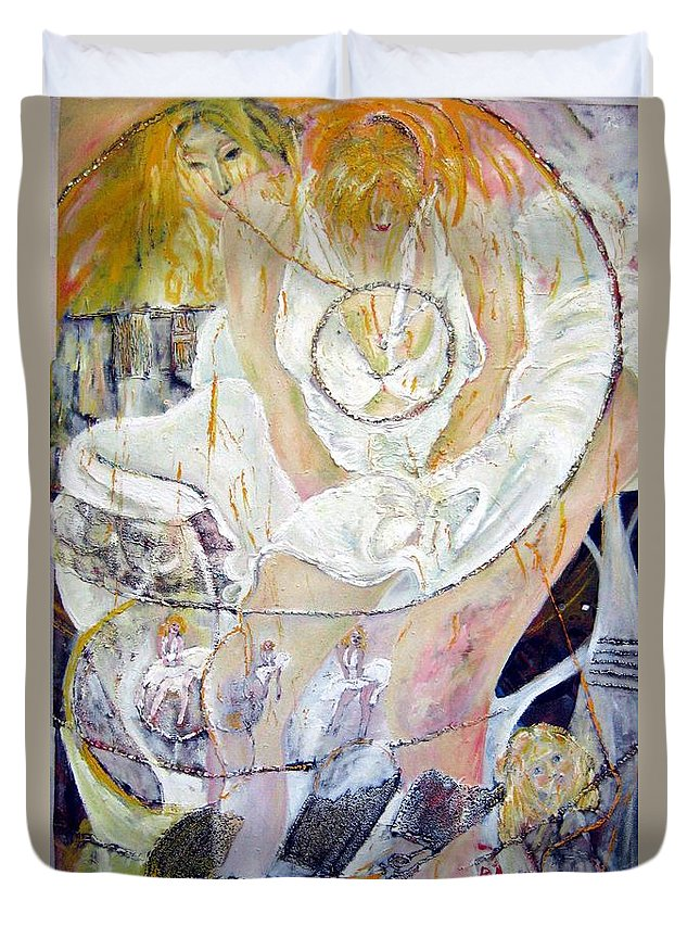 Figurative Duvet Cover featuring the painting Blondie  by Peggy Blood