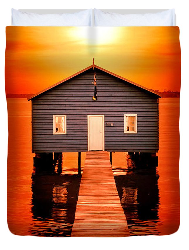Matilda Bay Boat Shed Duvet Cover featuring the photograph Blood Sunset by Az Jackson