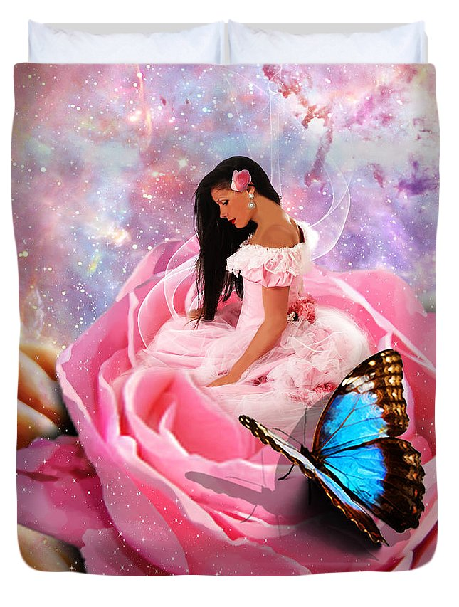 Hand Of God Duvet Cover featuring the digital art Bloom In The Hand Of The Father by Dolores Develde