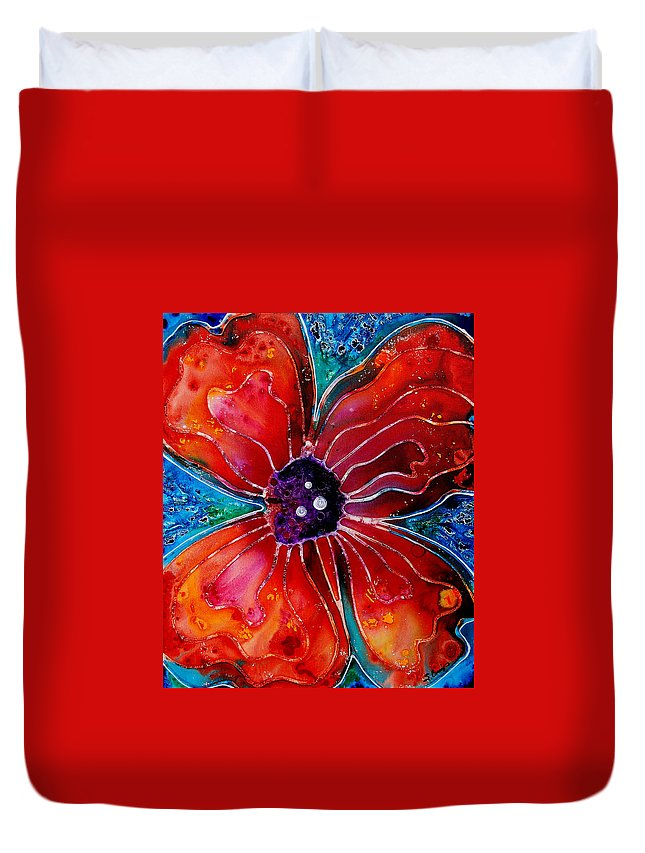Poppy Art Duvet Cover featuring the painting Bloom by Sharon Cummings