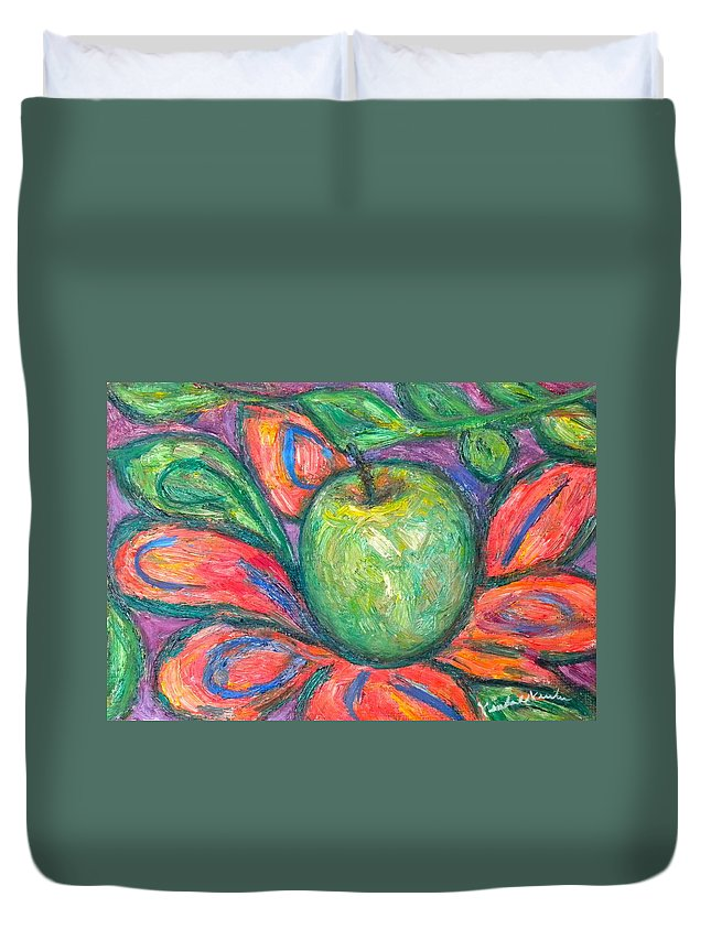 Apple Paintings Duvet Cover featuring the painting Blooming Apple by Kendall Kessler