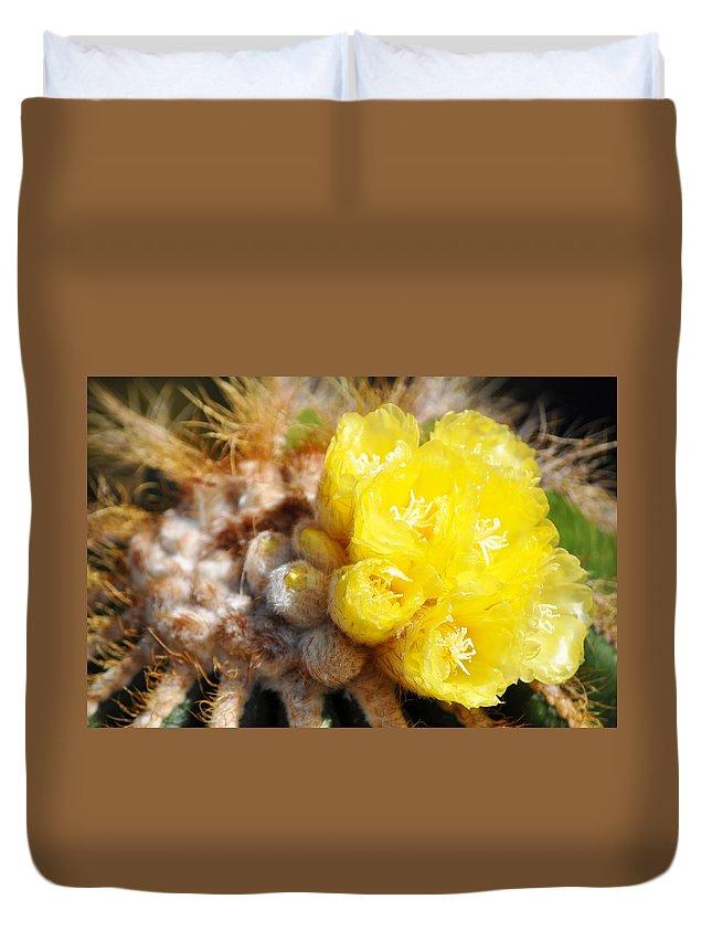 Blooming Barrel Cactus Duvet Cover featuring the photograph Blooming Barrel Cactus by Kyle Hanson