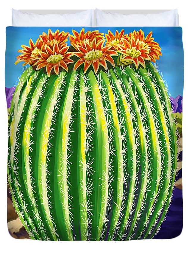 Contemporary Painting Duvet Cover featuring the painting Blooming Barrel Cactus by Tim Gilliland
