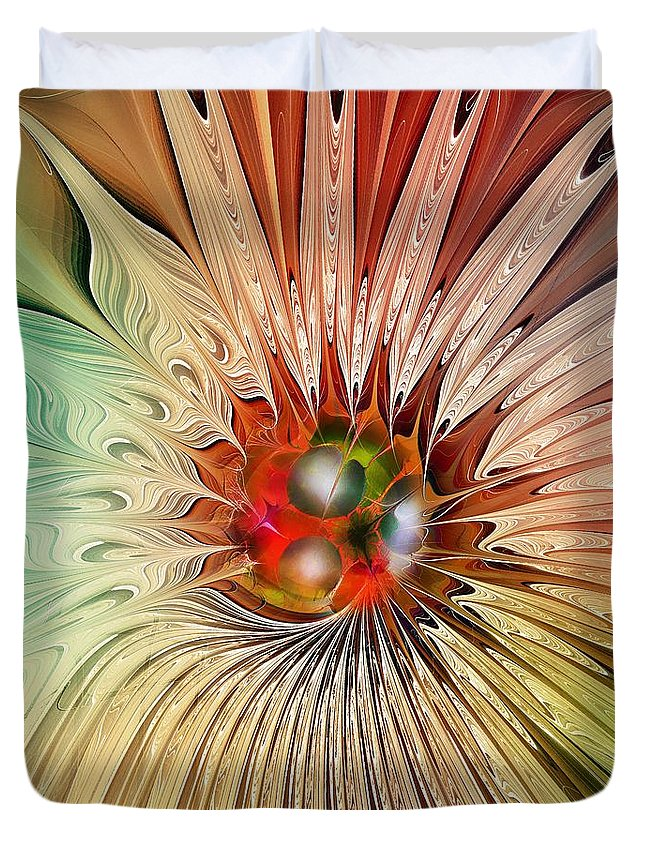 Abstract Duvet Cover featuring the digital art Blooming Beauty by Klara Acel