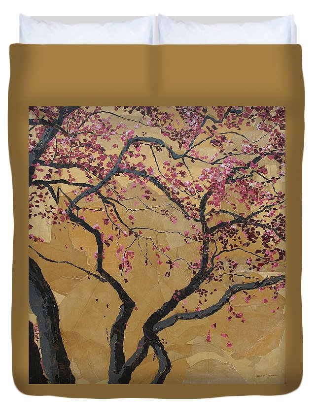 Tree Duvet Cover featuring the painting Blooming Prairie Fire by Leah Tomaino