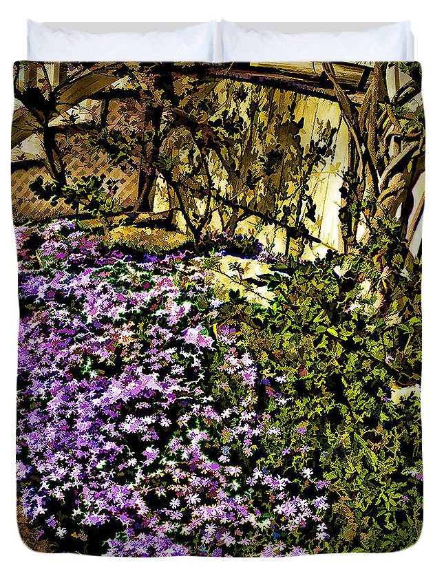 Flower Bed Duvet Cover featuring the photograph Blooms Beside The Steps by Nancy Marie Ricketts