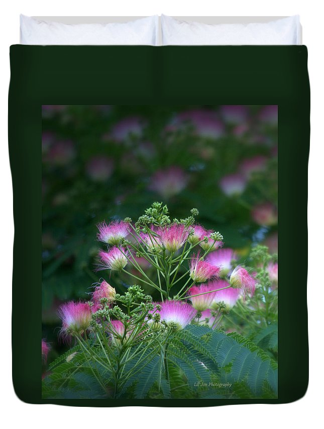 Tree Duvet Cover featuring the photograph Blooms Of The Mimosa Tree by Jeanette C Landstrom