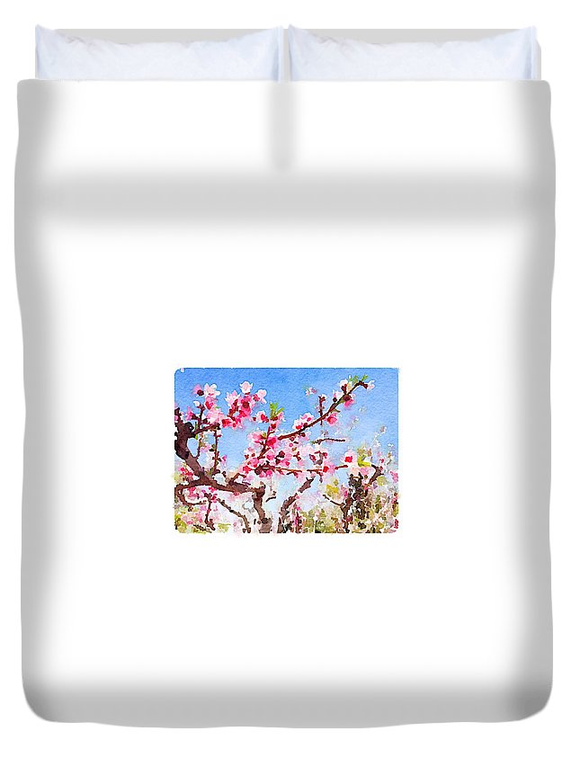 Waterlogue Duvet Cover featuring the digital art Blosoms by Shannon Grissom