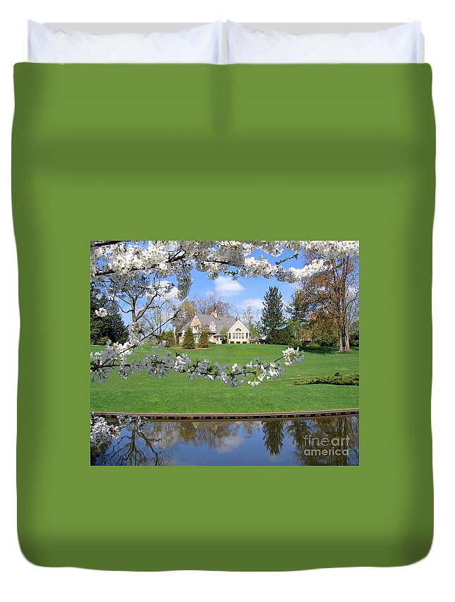 Spring Duvet Cover featuring the photograph Blossom-framed House by Ann Horn