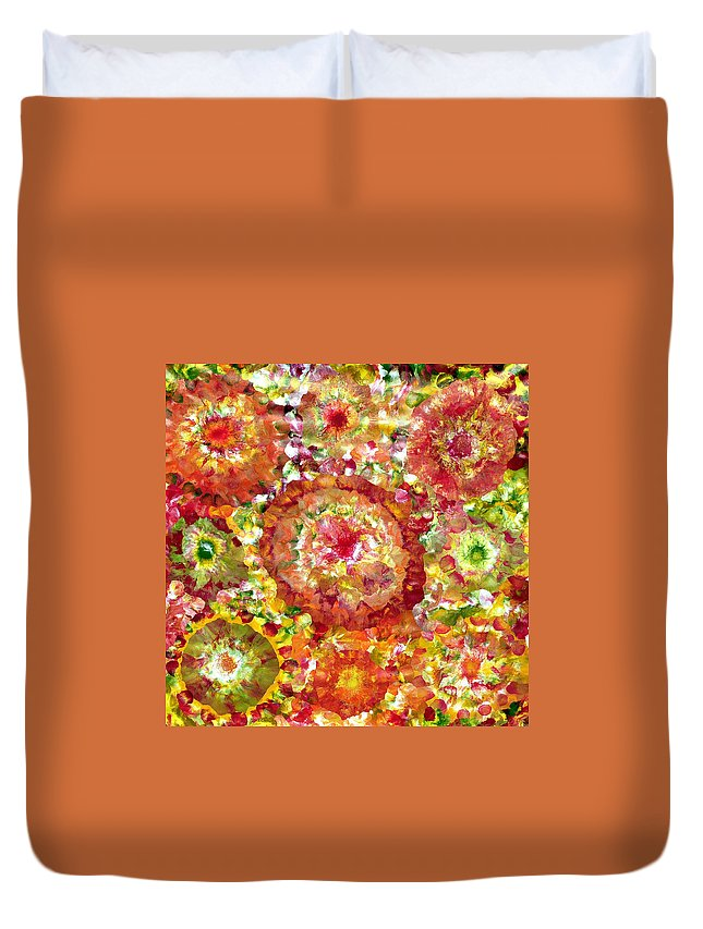 Garden Duvet Cover featuring the painting Blossom In Elysium by Sumit Mehndiratta