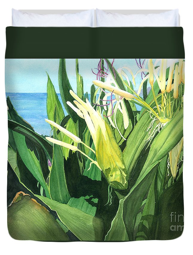 Flower Duvet Cover featuring the painting Blossoming Butterfly Ginger by Barbara Jewell