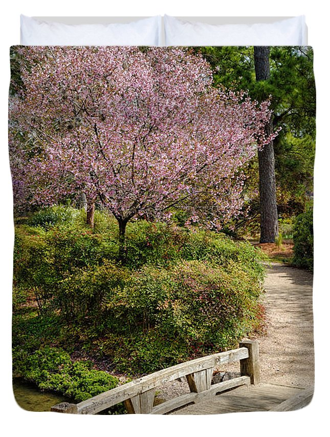Houston Duvet Cover Featuring The Photograph Blossoming Cherry Tree At Houston  Japanese Garden   Hermann Park