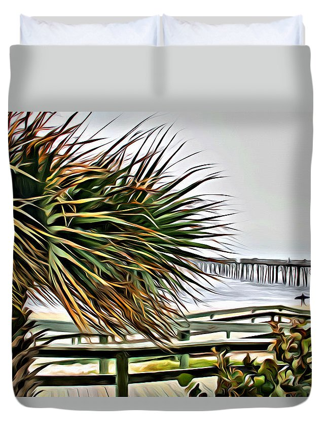 Flagler Beach Duvet Cover featuring the photograph Blowin At The Beach by Alice Gipson
