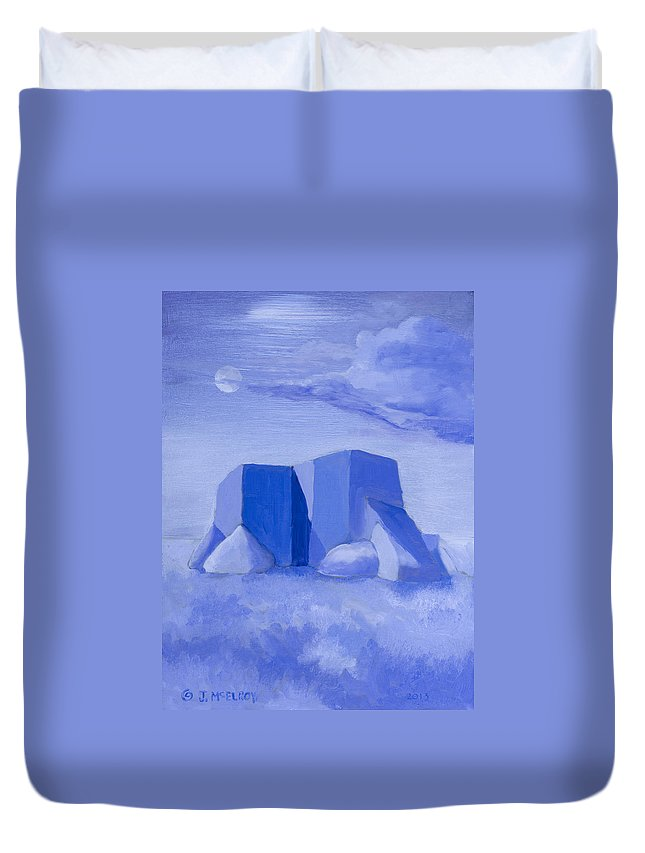 Blue Duvet Cover featuring the painting Blue Adobe by Jerry McElroy