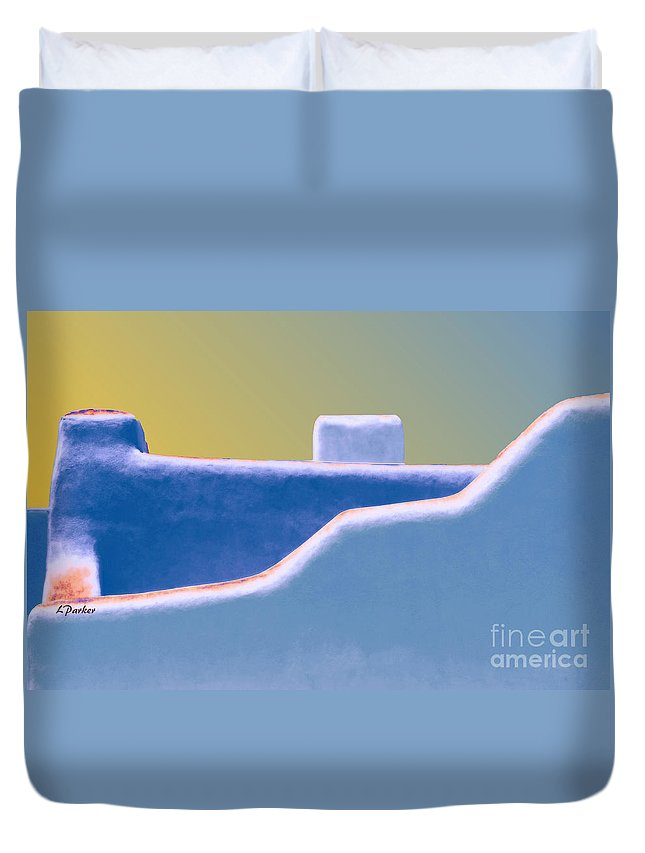 Architecture Duvet Cover featuring the photograph Blue Adobe Rooftop by Linda Parker
