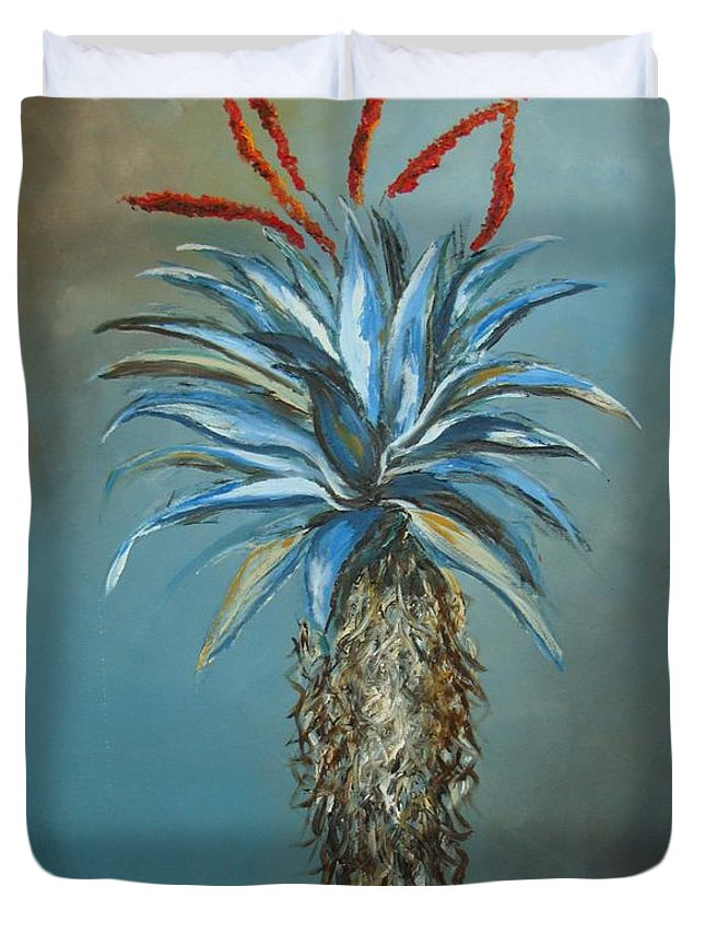 Turquoise Duvet Cover featuring the painting Blue Aloe With Red Flowers by Sunel De Lange