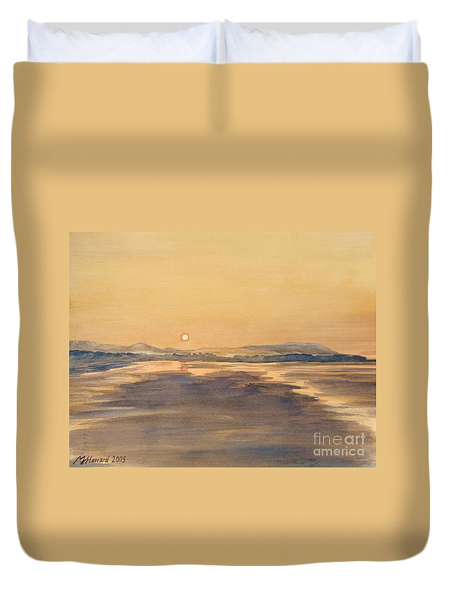 Blue Anchor Sunset Duvet Cover featuring the painting Blue Anchor Sunset by Martin Howard